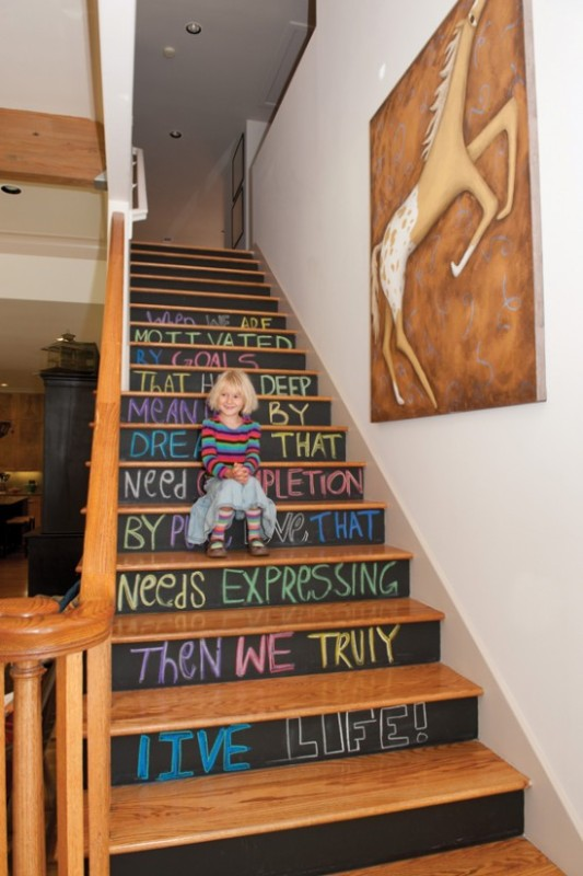 Chalkboard paint idea blackboard stairs stair risers staircase hall 550x826 e1416453655123