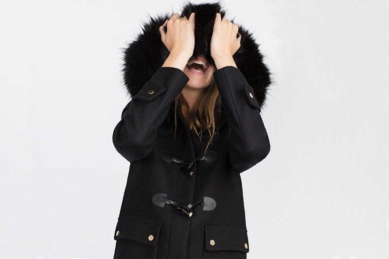 c286fa98 Zara Black Duffle Coat With Faux Fur Hood - Tradingbasis